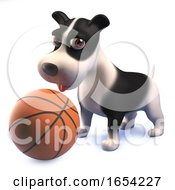 3d Black And White Puppy Dog Playing With A Basketball
