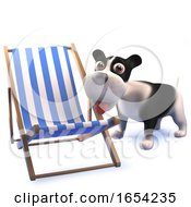 Cute 3d Black And White Puppy Dog Looking At A Deck Chair