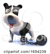 Black And White Puppy Dog In 3d Punished With A Ball And Chain by Steve Young