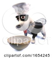 Funny Puppy Dog In Chefs Hat Making A Cake With A Whisk And Mixing Bowl 3d Illustration by Steve Young