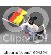 3d Puppy Dog Carrying The German Flag 3d Illustration