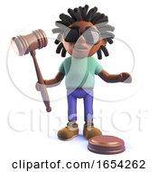 Rastafarian African Man In 3d Holding An Auction Gavel
