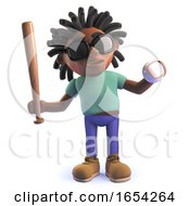 Black African Character In 3d Holding A Baseball Bat And Ball