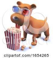 Poster, Art Print Of Cool Puppy Dog Hound In 3d Wearing 3d Glasses And Eating Popcorn