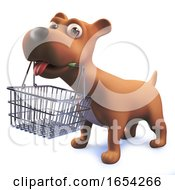 Poster, Art Print Of 3d Cute Puppy Dog Hound Holding A Shopping Basket In Its Mouth