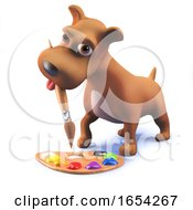 Poster, Art Print Of Cute Puppy Dog In 3d Playing With A Paintbrush And Palette