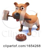 Poster, Art Print Of 3d Cute Puppy Dog Hound Holding An Auction Gavel In Its Mouth