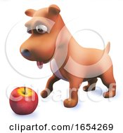 Poster, Art Print Of Cool Puppy Dog Hound Playing With An Apple In 3d