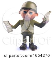3d Army Soldier Holding Wads Of Dollar Bills