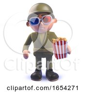 Army Soldier In 3d Wearing 3d Glasses And Eating Popcorn