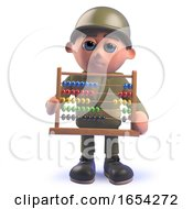 Army Soldier Character Holding An Abacus In 3d