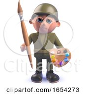 Army Soldier Character In 3d Holding A Paintbrush And Palette