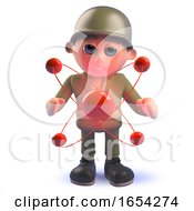 Character Army Soldier In 3d With Nuclear Atomic Particle