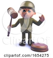 Army Soldier Character Holding An Auction Gavel In 3d