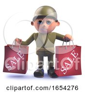 Army Soldier Character In 3d Holding Two Shopping Sale Bags