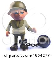Army Soldier In 3d With Ball And Chain