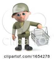 Army Soldier In 3d Holding A Shopping Basket
