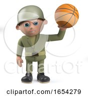Character Army Soldier Holding A Basketball In 3d