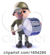 Army Soldier In 3d Drumming On A Bass Drum