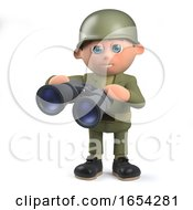 Army Soldier Character In 3d Holding A Pair Of Binoculars