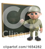 3d Army Soldier Character Teaching At The Chalkboard