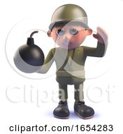 Army Soldier Character In 3d Holding A Bomb