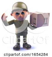 Character Army Soldier In 3d Carrying A Cardboard Box Parcel
