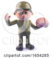 Army Soldier 3d Character Holding A Human Brain