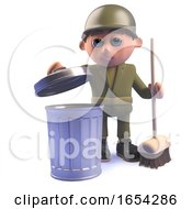 3d Army Soldier Character With Broom And Trash Can