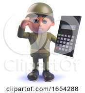 Character 3d Army Soldier Holding A Digital Calculator