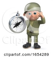 3d Army Soldier Character Holding A Navigation Compass