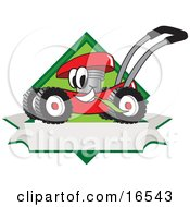 Red Lawn Mower Mascot Cartoon Character Chewing Grass On A Blank Ribbon Label