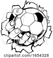 Poster, Art Print Of Soccer Football Ball Hand Tearing Background