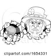 Poster, Art Print Of Leprechaun Golf Mascot Ripping Background
