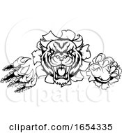 Poster, Art Print Of Tiger Angry Mascot Background Claws Breakthrough