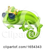 Chameleon Cool King Cartoon Lizard Character by AtStockIllustration