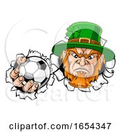 Poster, Art Print Of Leprechaun Soccer Mascot Ripping Background
