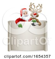 Santa Claus And Reindeer Christmas Scroll Sign