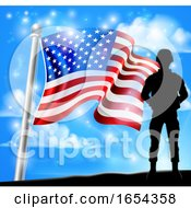 Patriotic Soldier American Flag Background Concept