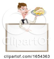 Poster, Art Print Of Cartoon Kebab And Chips Waiter Sign