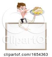 Cartoon Kebab And Chips Waiter Sign