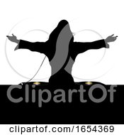 Poster, Art Print Of Female Dj Silhouette And Record Decks