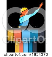 Poster, Art Print Of Female Striped Dj Silhouette And Record Decks On Black And Striped Background