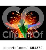 Poster, Art Print Of Striped Dj Silhouette Over Fireworks Background