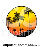Summer Tropical Border With Palm Trees Silhouette