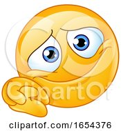 Poster, Art Print Of Cartoon Yellow Emoji Smiley With Clasped Hands