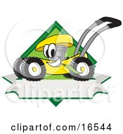 Yellow Lawn Mower Mascot Cartoon Character Chewing Grass On A Blank Ribbon Label