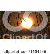 3D Bamboo Against A Sunset Landscape