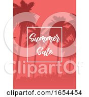Summer Sale Background With Palm Tree Silhouettes