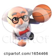 Mad Scientist Professor Shoots A Few Hoops With His Basketball When Thinking